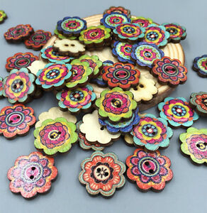 50-100pcs-Wooden-Buttons-2Holes-Flower-DIY-Sewing-Scrapbooking-Craft-19mm