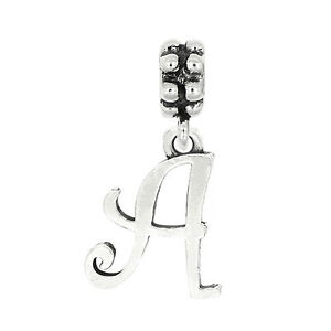 Sterling Silver Oxidized Letter I Dangle Bead Charm