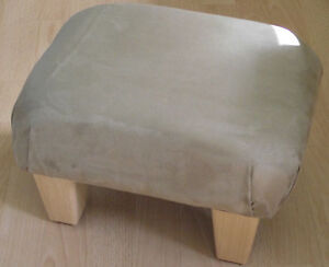 Pleasing Details About Superb Light Brown Faux Suede Small Footstool Light Solid Wood Legs Foot Stool Beatyapartments Chair Design Images Beatyapartmentscom