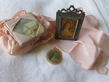 ANTIQUE FRENCH RELIGIOUS JOB LOT FRAME Thérèse of Lisieux RELIQUARY BOX HANKY