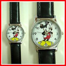 NEW Mickey Mouse Kids Boy Man Child Fashion Black Wrist Watch Wristwatch + Badge
