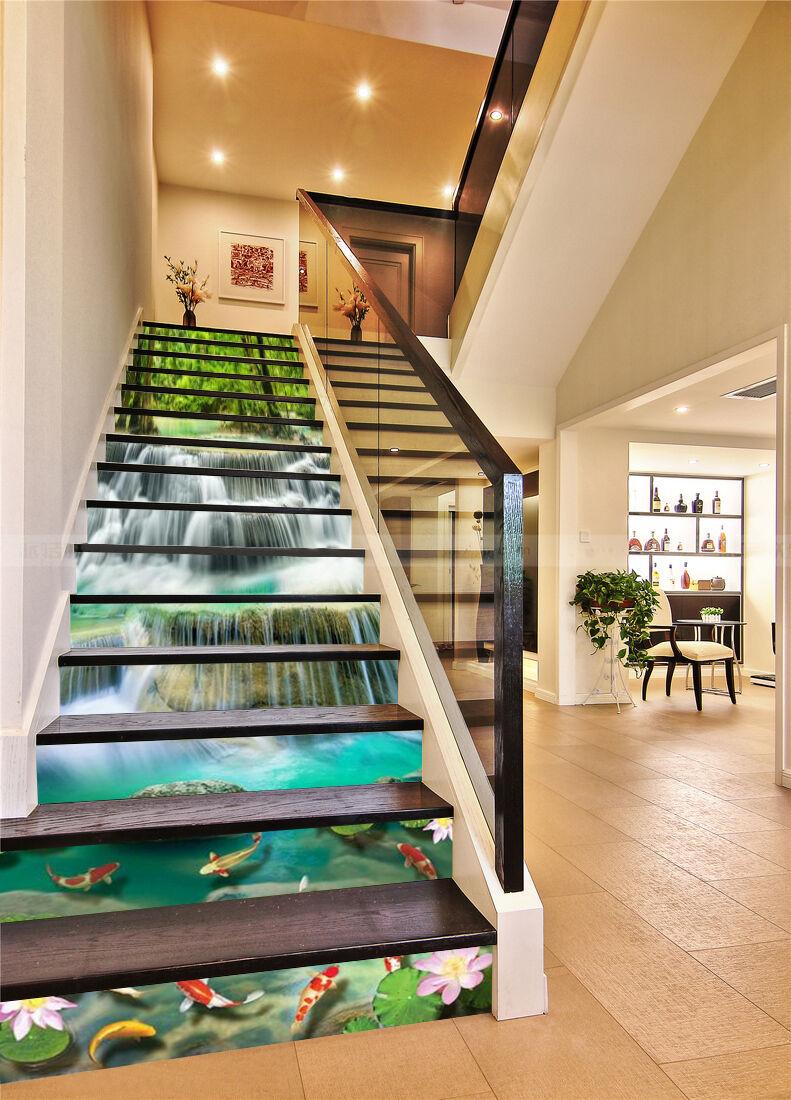 3D Fisch Teich 6342 Stair Risers Dekoration Fototapete Vinyl Aufkleber Tapete DE