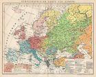 B6263 Etnografia in EUROPA - Carta geografica antica del 1902 - Old map