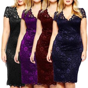 Womens-Celeb-Bodycon-Lace-Midi-Dresses-V-neck-Short-Sleeve-Party-Dress-Plus-Size