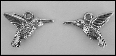 PEWTER CHARM #233 x 2 HUMMINGBIRD BIRDS (20mm x 13mm) 3D double sided