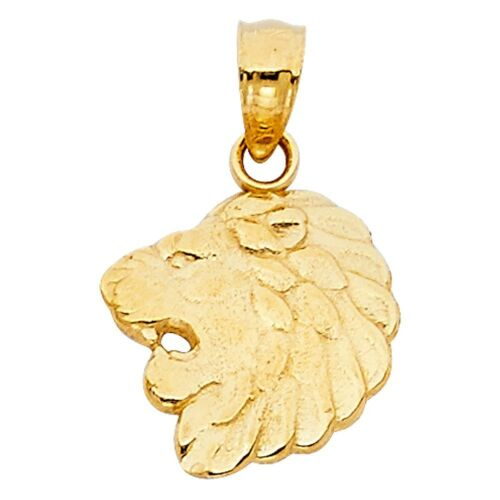 14k Jaune or Massif Lion Clignotants Tête de petites Charme Animal 12 mm x 13 mm Pendentif