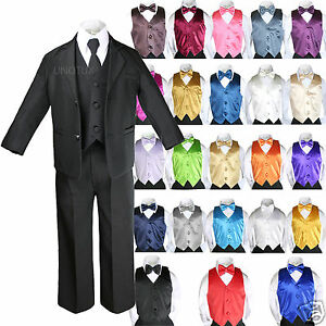 97104429f489 7Pc Kid Teenager Formal Wedding Tuxedo Boy Black Suits Extra Color ...