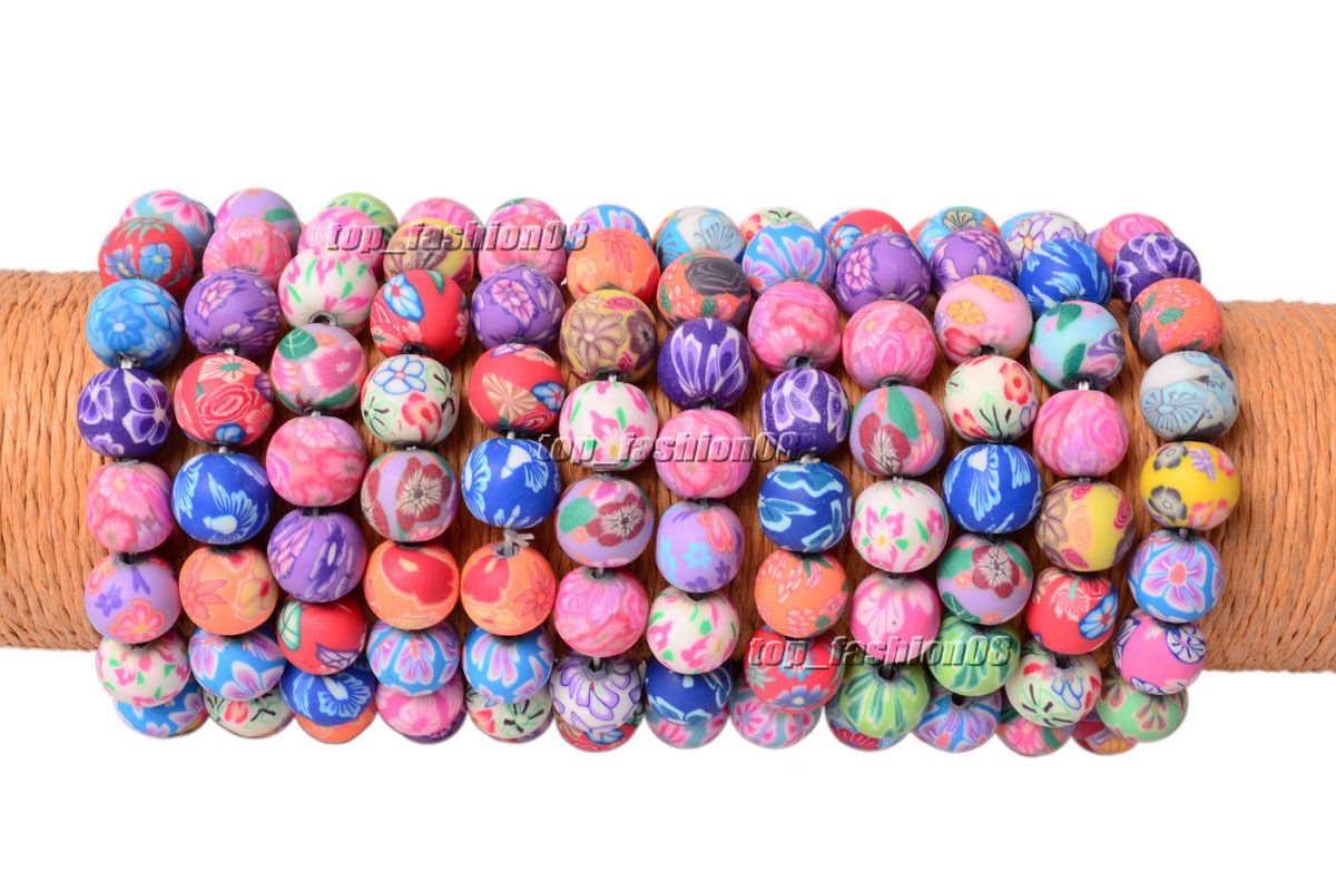 Wholesale 50pcs Candy color Handcraft 12MM Polymer Clay Bead Stretch Bracelets