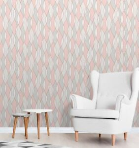 Image Is Loading Wallpaper Triangles Modern Look Grey Rose Gold Pink