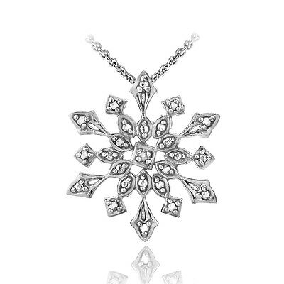 925 Silver Diamond Accented Snowflake Necklace, 18""
