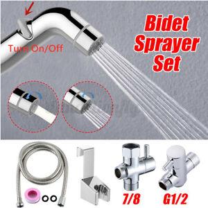 Stainless Steel HandHeld Toilet Bidet Sprayer Bathroom Shower T Adaptor Kit Set