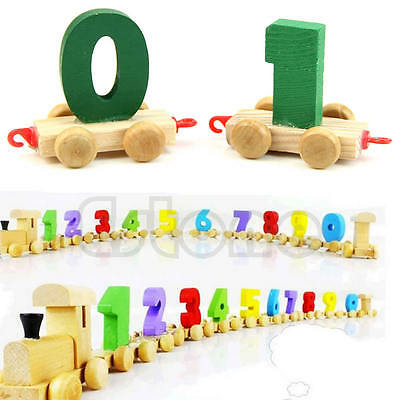 New Digital Children Toddlers Baby Small Wooden Train 0-9 Number Educational Toy