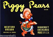 Medford Oregon Piggy Pears #2 Pig Pear Fruit Crate Label Art Print