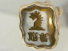 Victorian gold cased Armorial Intaglio Seal Fob Griffin Dragon Monogram U W