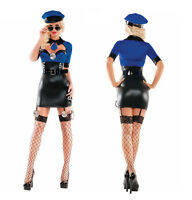 Women Cops Police PVC Leather Uniform Halloween Party Stage Cosplay Costume S/M
