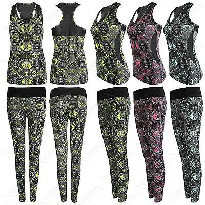 Ladies Abstract Print Workout Fitness Sport Yoga Gym Vest Top Leggings 2-pc Suit