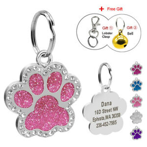 Personalised-Dog-Tags-Disc-Disk-Rhinestones-Engraved-Pet-ID-Name-Tag-Paw-Glitter