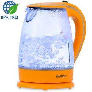 Wasserkocher Teekocher Edelstahl 1,7 L Glas LED Kocher schnurlos kabellos 2200W