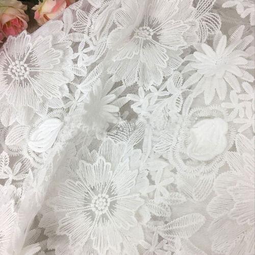 Vestido de encaje 3D con Cable Blanco de Novia Disfraz De Bordado De Flor De Tela Adorno 1Y