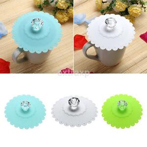 Fashion Diamond Anti-dust Silicone Glass Cup Cover Coffee Mug Suction Seal Lid