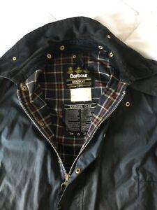 Barbour-Mens-Beaufort-wax-jacket-blue-size-44-length-112cm