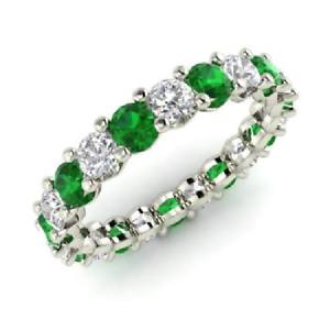 2.54 Ct Round Cut Diamond Engagement Emerald 14K White Gold Finish Eternity Band