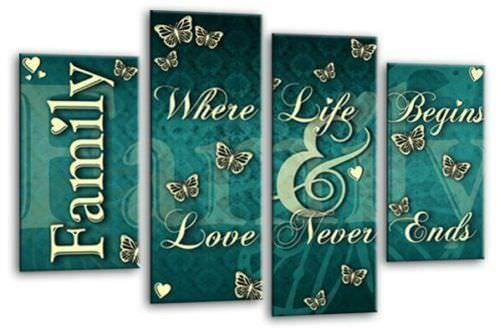 """Family Quote Wall Art Picture Red Grey Teal Love Home Canvas Split Panel 44/"""""""