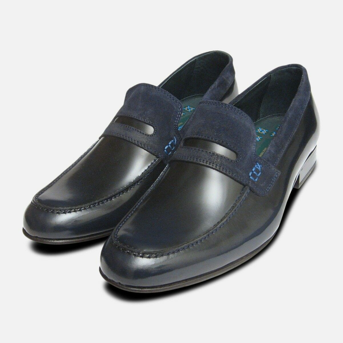 Vanquish Designer Loafers in Antique Navy Blue by Exceed Shoes
