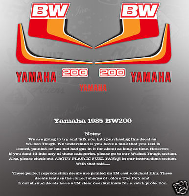 VINTAGE LIKE NOS 1985 YAMAHA BW200 TANK GRAPHICS