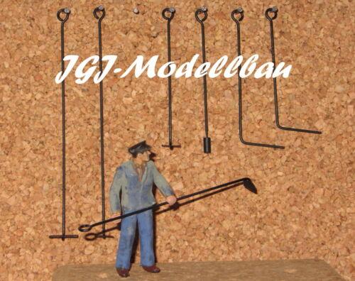 Messing-Handarbeitsmodell 7-tlg Werkzeugsatz zur Dampflokwartung