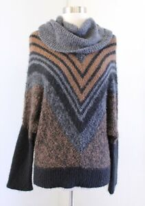 Wooden Ships Paola Buendia Cowl Turtleneck Mohair Wool Striped Sweater Size S M
