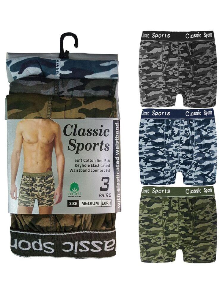 3 Hommes Classique Sport Coton Boxer Shorts Trunks Sous-vêtements/camouflage Ceinture