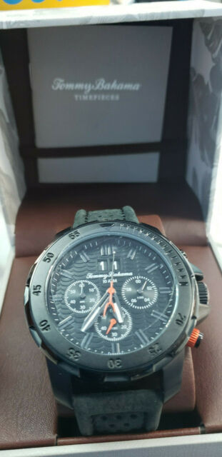 New In BOX Tommy Bahama TB00103-01 Men's 50mm Black Stainless Steel Chronograph