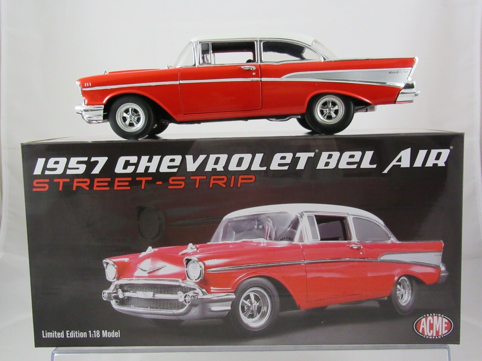 Acme 1957 Chevrolet Bel Air Red/White - Street/Strip A1807005