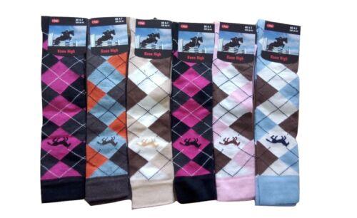 6 Paires Mesdames Knee High Horse Design Coton Riche Boot Chaussettes Argyle Pattern 4-7