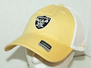 OAKLAND RAIDERS FOOTBALL REEBOK NFL LOGO WOMEN YELLOW TRUCKER CURVE ... e36d908c218