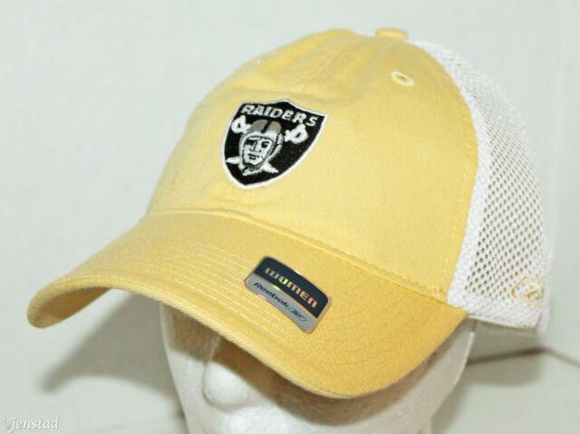 2c76943fb1a4fd where to buy oakland raiders football reebok nfl logo women yellow trucker  curve bill cap hat