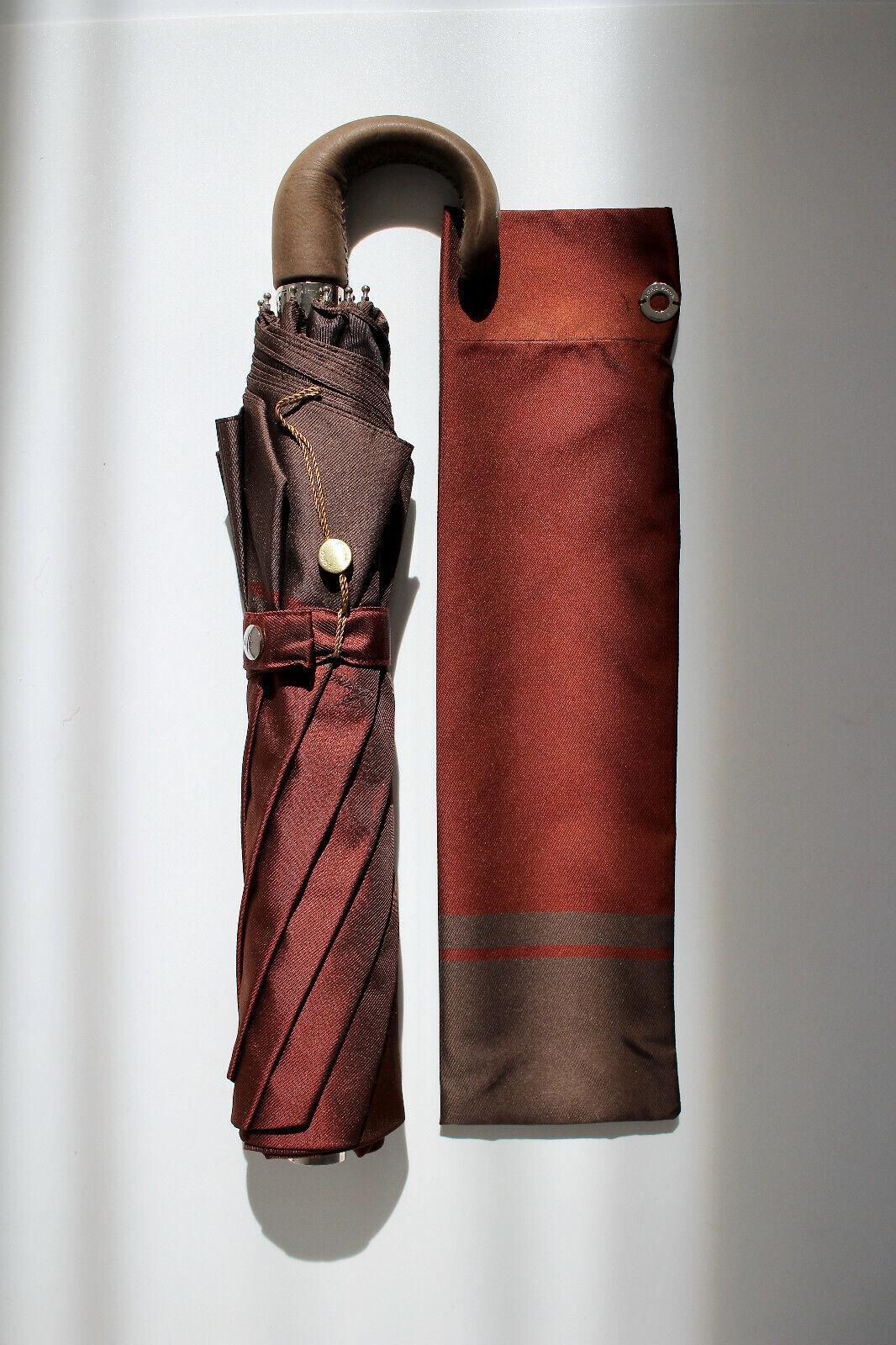 ! nuevo! Loro Piana Borgoña Marrón Cuero paraguas