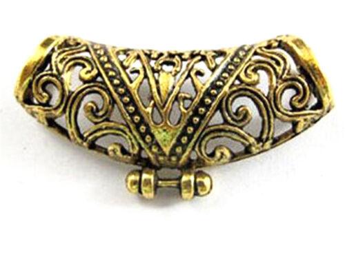6Pcs Tibetan Silver,Gold,Bronze Flower Tube Spacer Connectors Pendants DIY