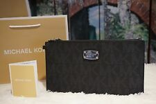 NWT MICHAEL KORS JET SET MK LARGE ZIP CLUTCH/WRISTLET/ WALLET BLACK PVC $98.00