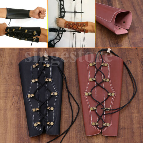 Archery Arm Guard Bracer Bow Cow Leather Archery Gauntlet Hand Shooting Glove