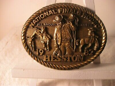 1982 Hesston National Finals Rodeo Belt Buckle 8th Ed Collect All Around Cowbow
