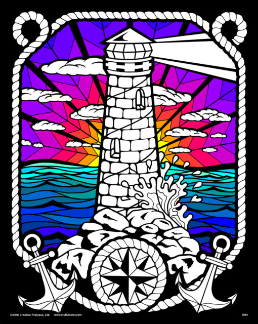 Lighthouse Large 16x20 Fuzzy Velvet Coloring Poster Craft
