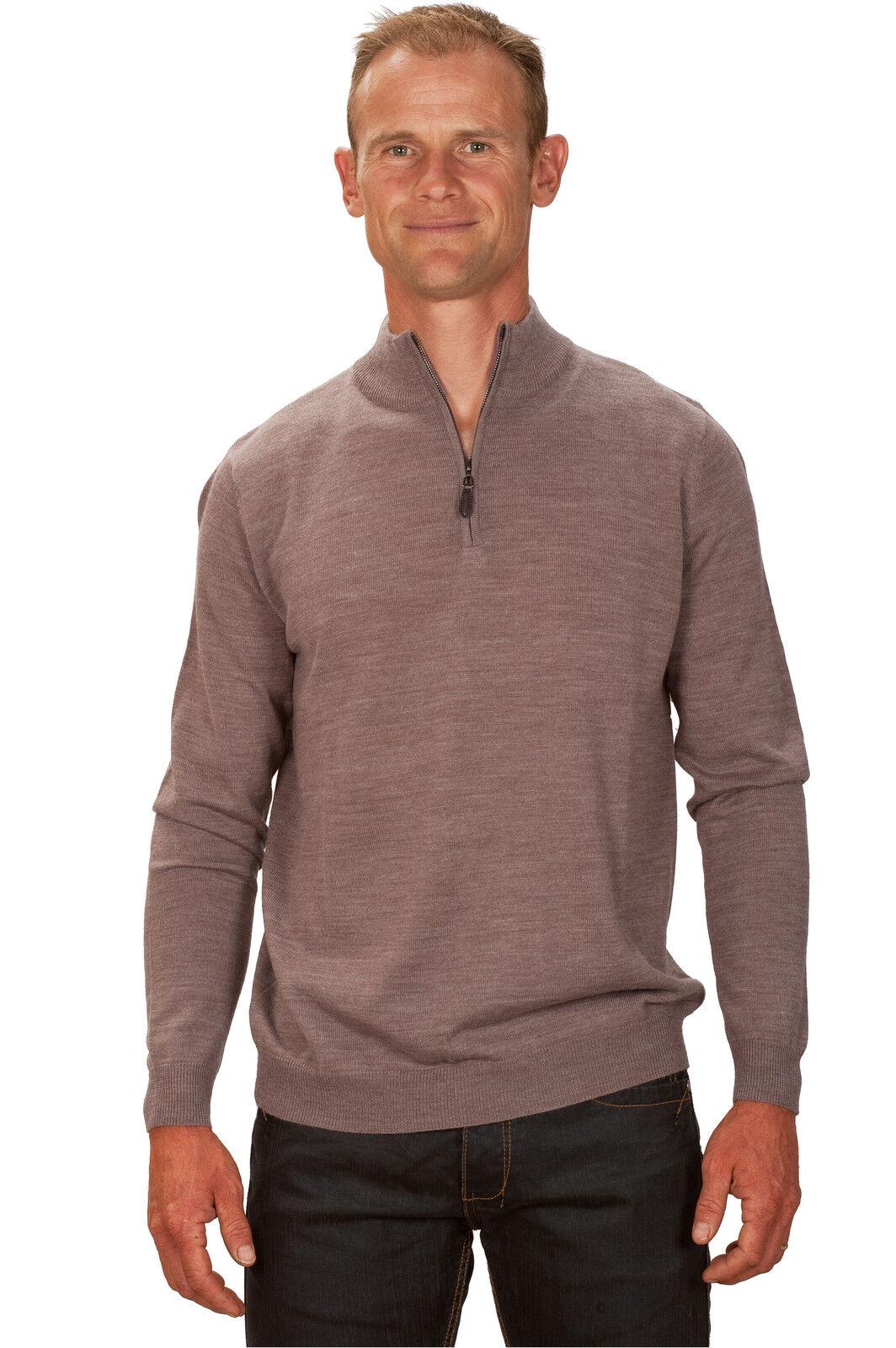 Ugholin Herren kaschmir Beige Pullover mit reißverschluss am kragen