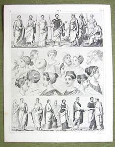 ROME-Roman-Fashion-Dresses-Toga-Women-Headgear-1844-SUPERB-Engraving-Print