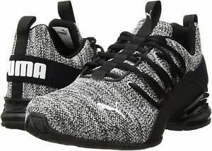 Puma-Mens-Puma-Axelion-Ridge-Fabric-Low-Top-Lace-Up-Black-White-Size-10-5-9LEu