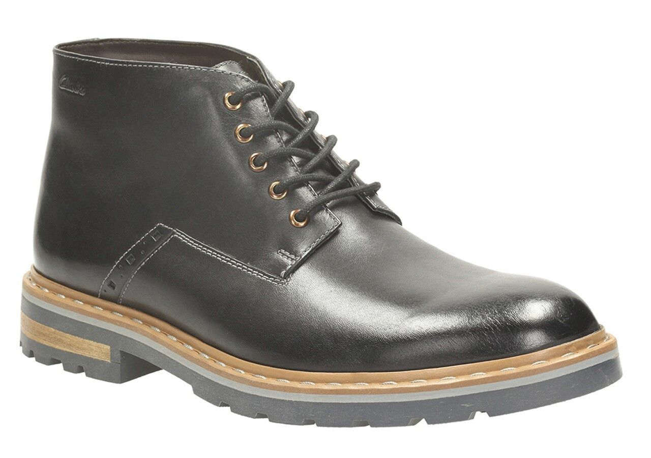 NEW CLARKS DARGO LO SOFT negro LEATHER ANKLE botas Talla 6.5 & 7 & 8