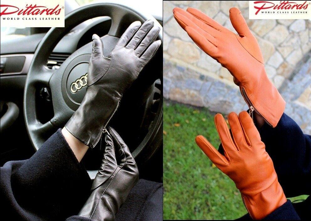 !NOUVEAU! Élégants gants en cuir noir et cognac avec fermeture éclair latérale!