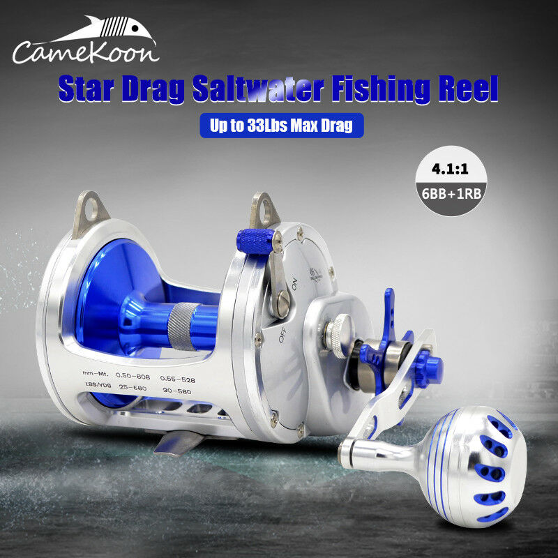 CAMEKOON Saltwater Star Drag Fishing Reel  33LB Max Drag Right Hand Trolling Reel  buy 100% authentic quality