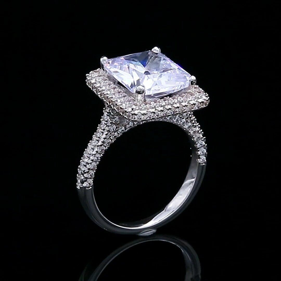 4Ct Radiant Cut Diamond Halo Solitaire with Accents Ring 14K White gold Finish